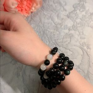 obsidian and moon light stone necklace or bracelet
